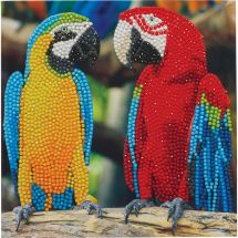 Carte broderie Diamant - Crystal Art D.I.Y - Couple de perroquets