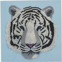 Carte broderie Diamant - Crystal Art D.I.Y - Tigre blanc