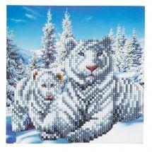 Carte broderie Diamant - Crystal Art D.I.Y - Tigres blancs