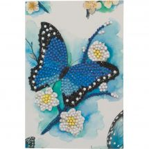 Carte broderie Diamant - Crystal Art D.I.Y - Papillon bleu