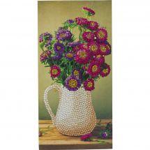 Carte broderie Diamant - Crystal Art D.I.Y - Vase de fleurs