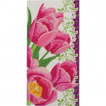 Carte broderie Diamant - Crystal Art D.I.Y - Tulipes roses