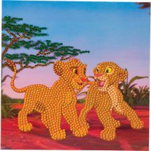 Carte broderie Diamant - Crystal Art D.I.Y - Simba et Nala