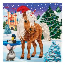 Carte broderie Diamant - Crystal Art D.I.Y - Cheval d'hiver
