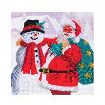 Carte broderie Diamant - Crystal Art D.I.Y - Père Noël et bonhomme de neige