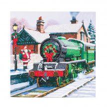 Carte broderie Diamant - Crystal Art D.I.Y - Locomotive du Père Noël
