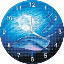 Horloge broderie Diamant - Crystal Art D.I.Y - Daupins et lune