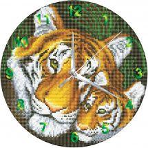Horloge broderie Diamant - Crystal Art D.I.Y - Maman tigre et son petit