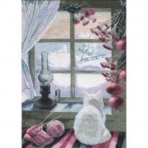 Kit point de croix - Charivna Mit - Chat près de la fenêtre