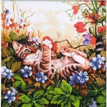 Kit de broderie avec perles - Charivna Mit - Chat dans la clairière fleurie
