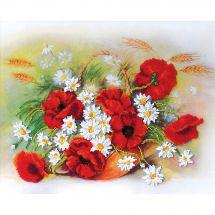 Kit de broderie avec perles - Charivna Mit - Coquelicots rouges