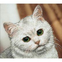 Kit de broderie avec perles - Charivna Mit - Chat blanc