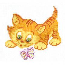 Kit point de croix - Charivna Mit - Le chaton et le papillon