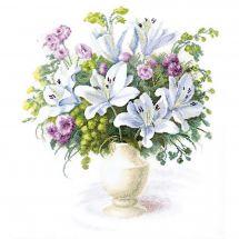 Kit point de croix - Charivna Mit - Bouquet aux lys blancs