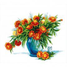 Kit point de croix - Charivna Mit - Vase de soucis