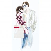 Kit point de croix avec perles - Charivna Mit - Couple intelligent