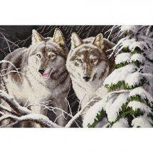 Kit point de croix - Charivna Mit - Loups au clair de lune d'hiver