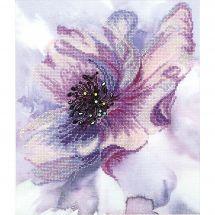 Kit point de croix avec perles - Charivna Mit - Fleur mauve