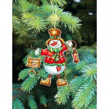 Kit d'ornement à broder - Charivna Mit - Jouets de Noël : Bonhomme de Neige