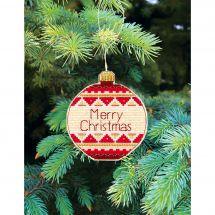 Kit d'ornement à broder - Charivna Mit - Joyeux Noël : Boule de voeux