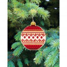 Kit d'ornement à broder - Charivna Mit - Joyeux Noël : Boule géométrique 2