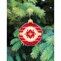 Kit d'ornement à broder - Charivna Mit - Joyeux Noël : Boule fleur