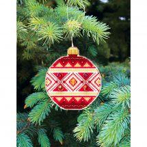 Kit d'ornement à broder - Charivna Mit - Joyeux Noël : Boule géométrique 3