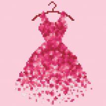 Kit de broderie Diamant - Diamond Art - Robe rouge