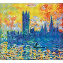 Kit de broderie Diamant - Diamond Dotz - Le parlement de Londres en hiver d'après Monet