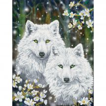 Kit de broderie Diamant - Diamond Dotz - Loups d'hiver