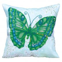 Kit de coussin broderie Diamant - Diamond Dotz - Papillon vert
