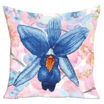 Kit de coussin broderie Diamant - Diamond Dotz - Fleur de jardin bleue