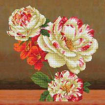 Kit de coussin broderie Diamant - Diamond Dotz - Bouquet de roses et camélias 1