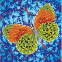 Kit de broderie Diamant - Diamond Dotz - Papillon vert et orange