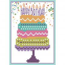 Carte broderie Diamant - Diamond Dotz - Happy Birthday