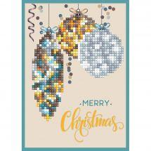 Carte broderie Diamant - Diamond Dotz - Joyeux Noël décoration