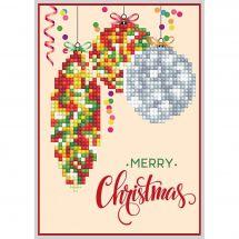 Carte broderie Diamant - Diamond Dotz - Merry Christmas décoration