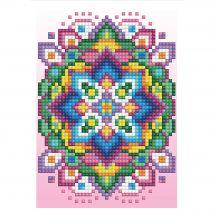 Carte broderie Diamant - Diamond Dotz - Mandala fond rose