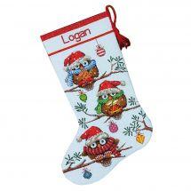 Kit de chaussette de Noël à broder - Dimensions - Hiboux