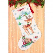 Kit de chaussette de Noël à broder - Dimensions - Renne et hérisson