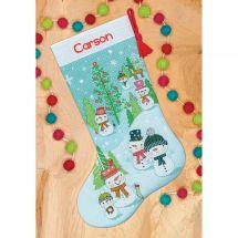 Kit de chaussette de Noël à broder - Dimensions - Famille de bonhommes de neige