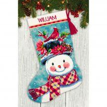 Kit de chaussette de Noël à broder - Dimensions - Bonhomme de neige