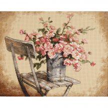 Kit point de croix - Dimensions - Roses sur une chaise blanche