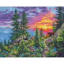Kit point de croix - Dimensions - Sentier de montagne au coucher du soleil