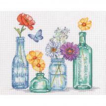 Kit point de croix - Dimensions - Bocaux de fleurs sauvages