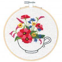 Kit de broderie sur tambour - Dimensions - Bouquet de tasse de thé