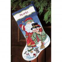 Kit de chaussette de Noël à broder - Dimensions - Bonhomme