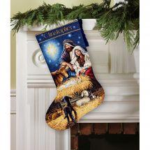 Kit de chaussette de Noël à broder - Dimensions - Sainte nuit