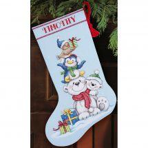 Kit de chaussette de Noël à broder - Dimensions - Oursons
