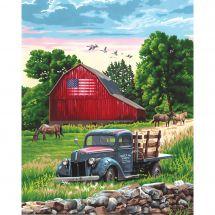 Kit de peinture par numéro - Dimensions - Une ferme en été